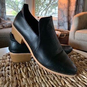 Trendy, black low booties.